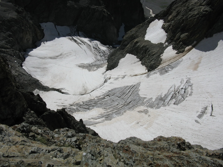Le glacier des Bans vu de haut.