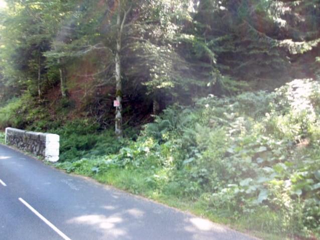 Le départ du chemin à droite pas évident si la végétation est dense. Escalade écrit sur le goudron.