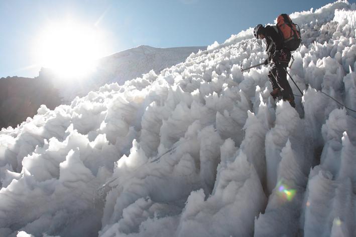 Début des pénitents sur les pentes du pico Tarija