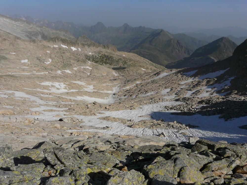 Le vallon d'accès au Col Mulleres