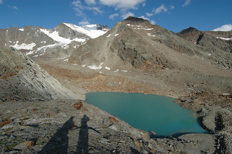 Lac Grüebe  2768m,  Fletschhorn 3993m - Inner Rothorn 3415m - Jegiturm. 08/2009
