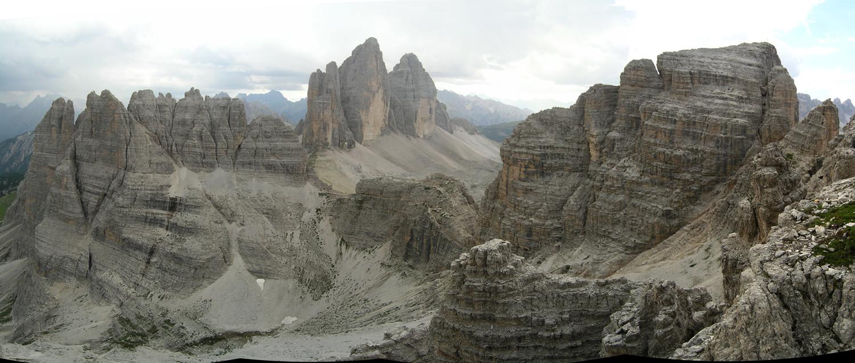 Tre Cime, Monte Paterno vus du sentier des Forcelle