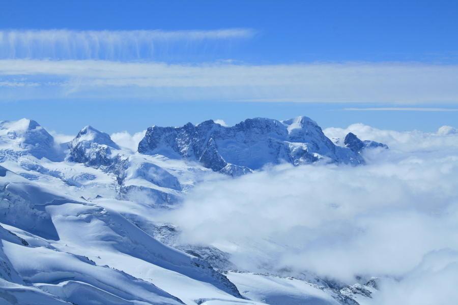 Castor, Pollux, Breithorn, Klein Matterhorn depuis Allalinhorn