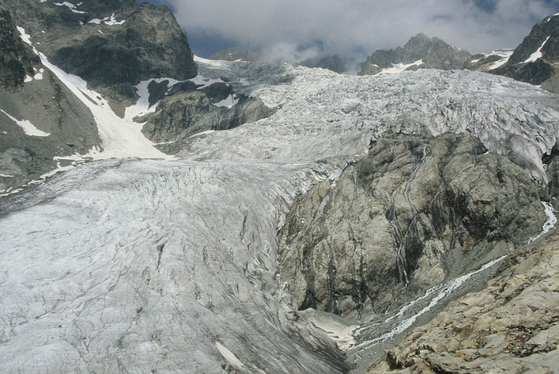 Limite du glacier Blanc en 2010 - juillet 1987