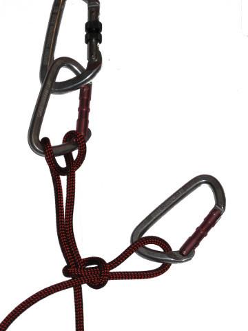 Sécuriser le nœud avec un mousqueton