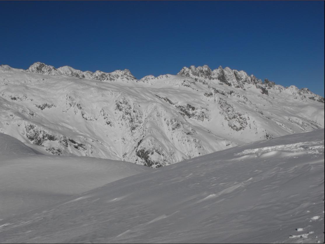 Vur sur le Rocher Blanc et les Aiguilles d'Argentière