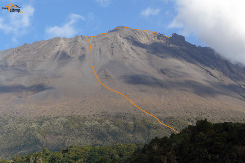 Route to Mount Meru over the W shoulder