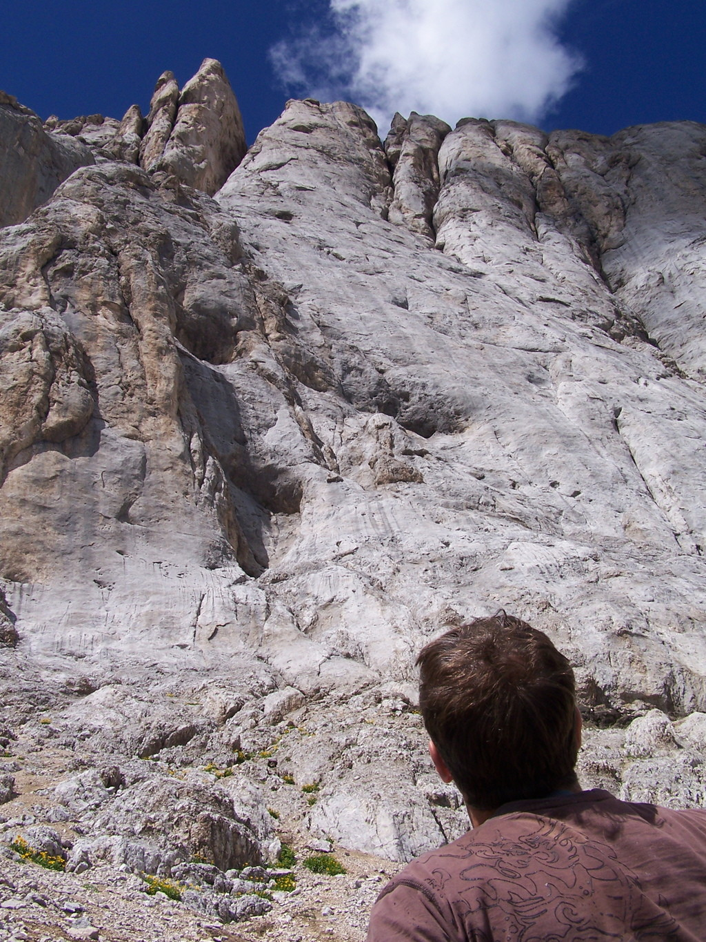 The route from large ledge.