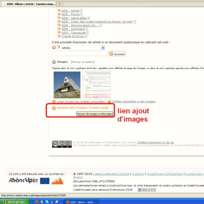 """Lien """"Ajouter des images à cette page"""""""