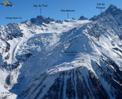 Col du Passon (Blue traces are the Peclerey variant)