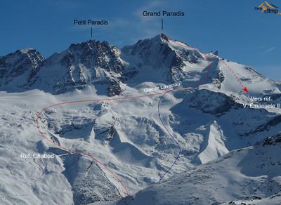 Le Grand Paradis par le Glacier de Laveciau (variante de descente en bleu)