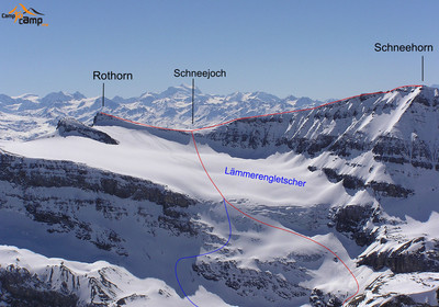 Rothorn  et Schneenhorn tracé bleu variante descente