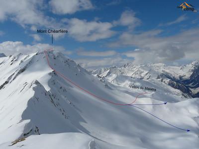 Mont Chéarfière - Montée depuis Malatra descente directe (en bleu)