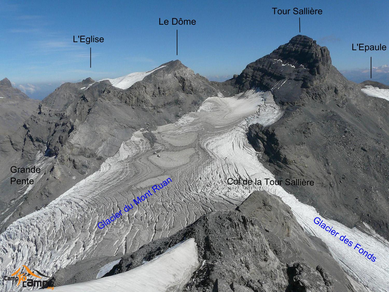 Tour Sallière, le Dôme, l'Eglise, glacier du Mont Ruan.