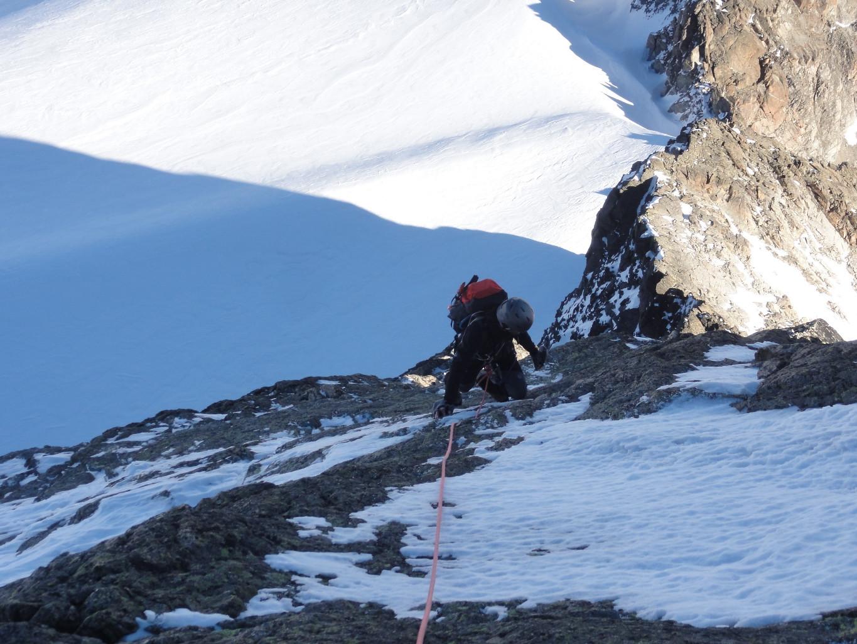 Guillaume on the Keschnadel NE ridge (Engadine) : End Nov. 2011