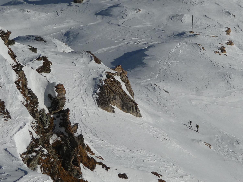 Due scialpinisti in arrivo al più basso Col di Salvé