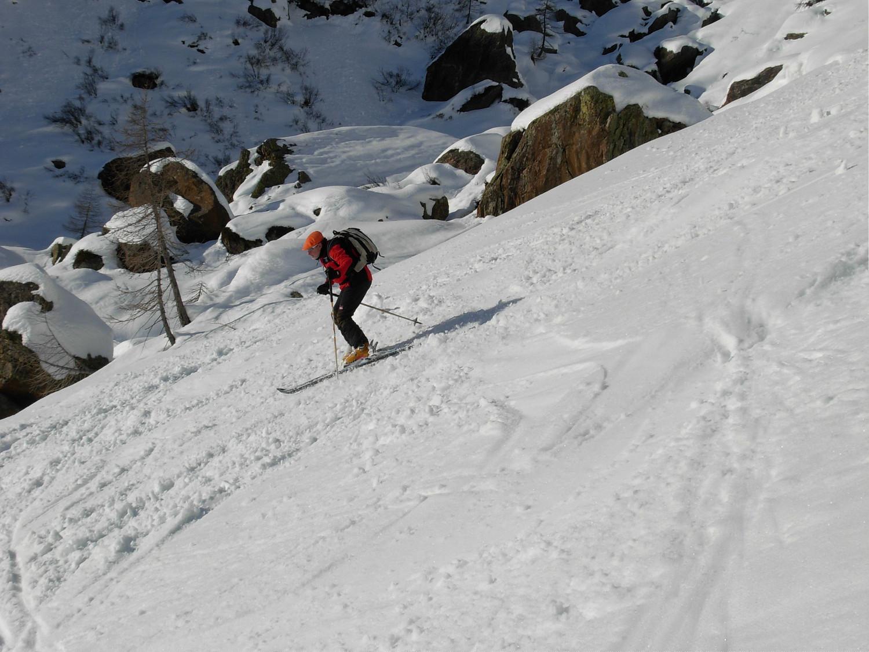neve trasformata sotto ai Piani della Rossa: René in azione