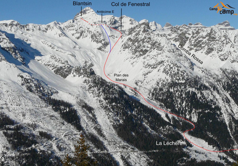 Col de Fenestral - Blantsin - Itinéraire bleu descente par la face SE de l'antécime E