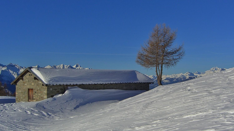 Punta Valfredda - A la sortie des pistes d'Estoul. MtBlanc à droite