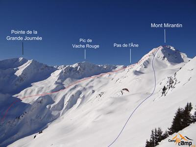 Mont Mirantin : Montée face SE (bleu) Descente couloir S et traversée vers le couloir des Grépets (rouge)