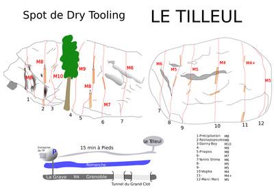 Topo dry-tooling Tilleul (La Grave)