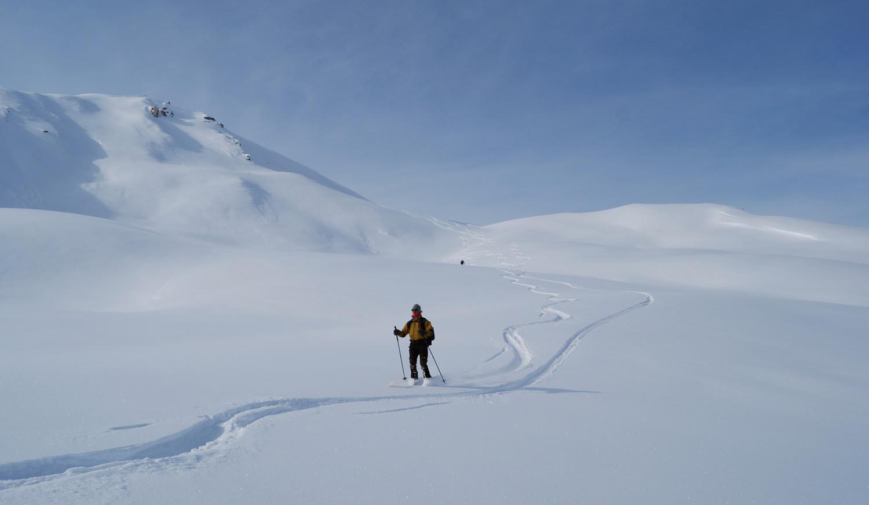 Scendendo dal Feil su bella neve