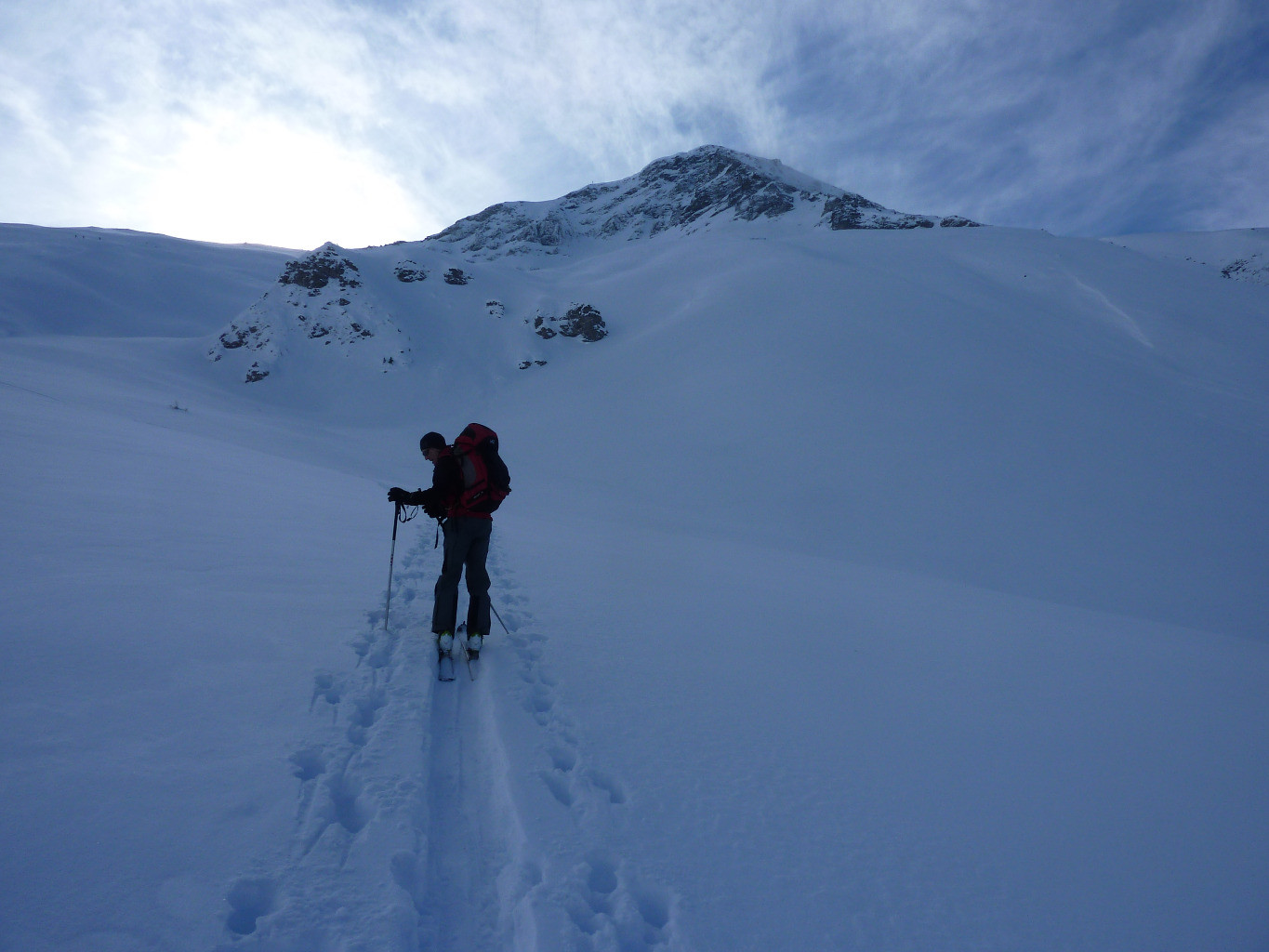 Salendo all'Albristhorn. Verso il couloir Biregrabe