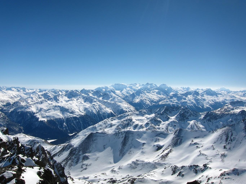 panorama sui Palù, Bernina e Roseg
