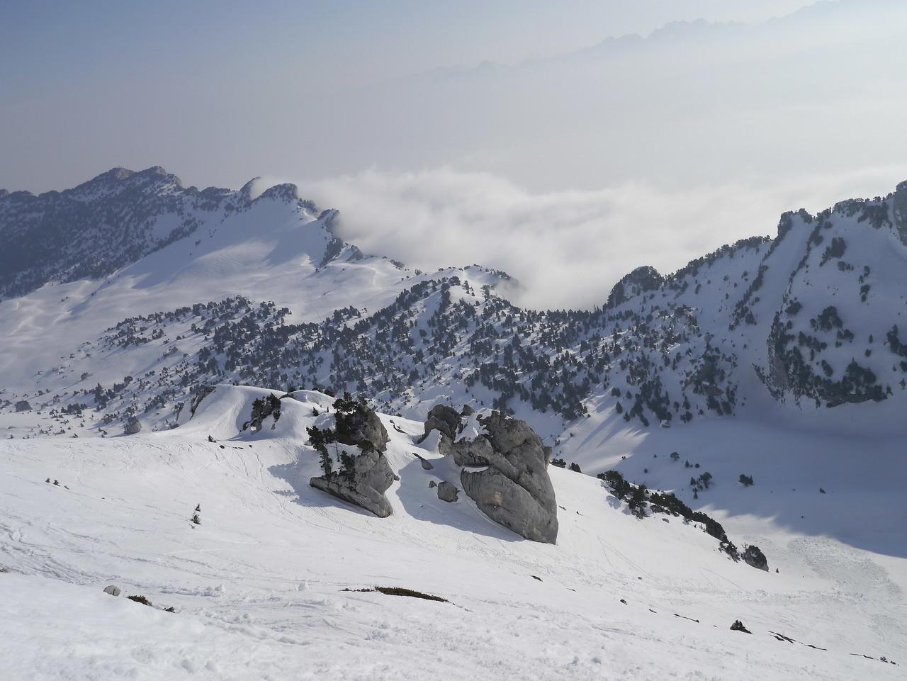 depuis le sommet, aretes de l'Aup du seuil