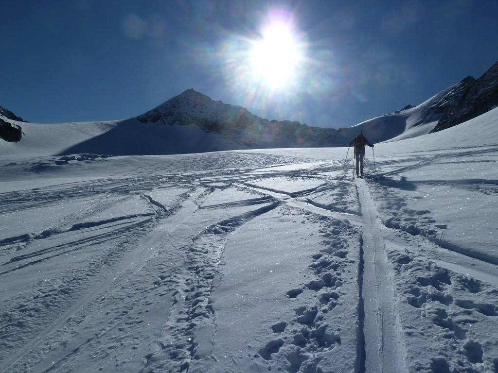 In salita sul ghiacciaio a circa 3200 m di quota
