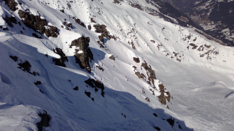 la descente NE sous le sommet
