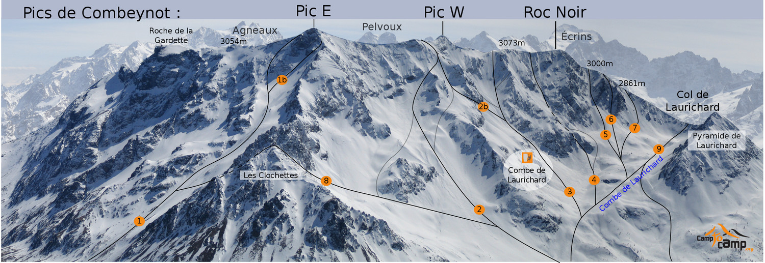 Ski routes in Combeynot