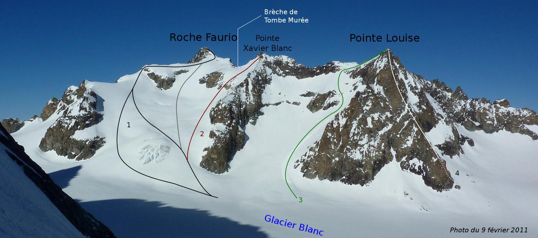 Versant Sud : Roche Faurio, Xavier Blanc, Pointe Louise