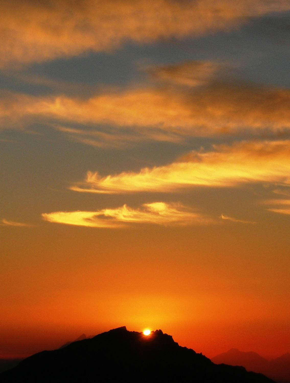 coucher de soleil depuis la cabane Tracuit