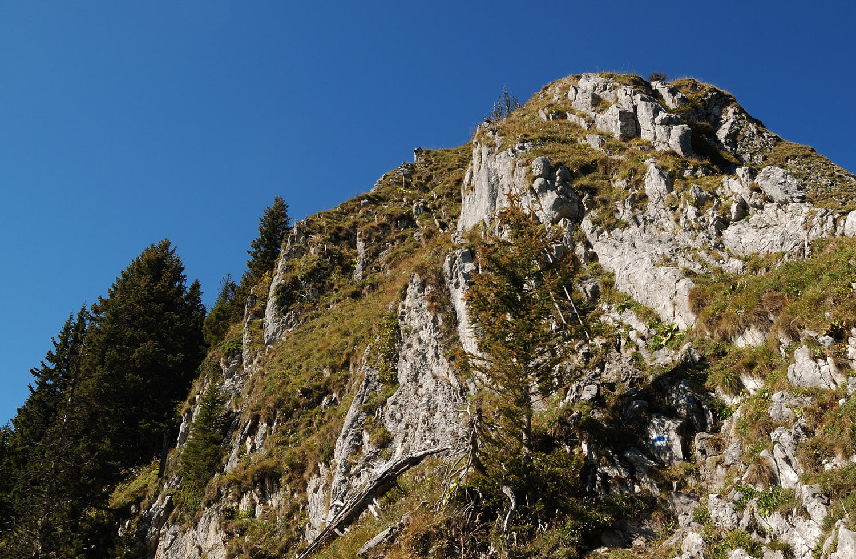 Le bastion sommital de la Spitzflue avec son échelle