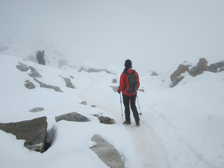 fin de la montée dans la neige