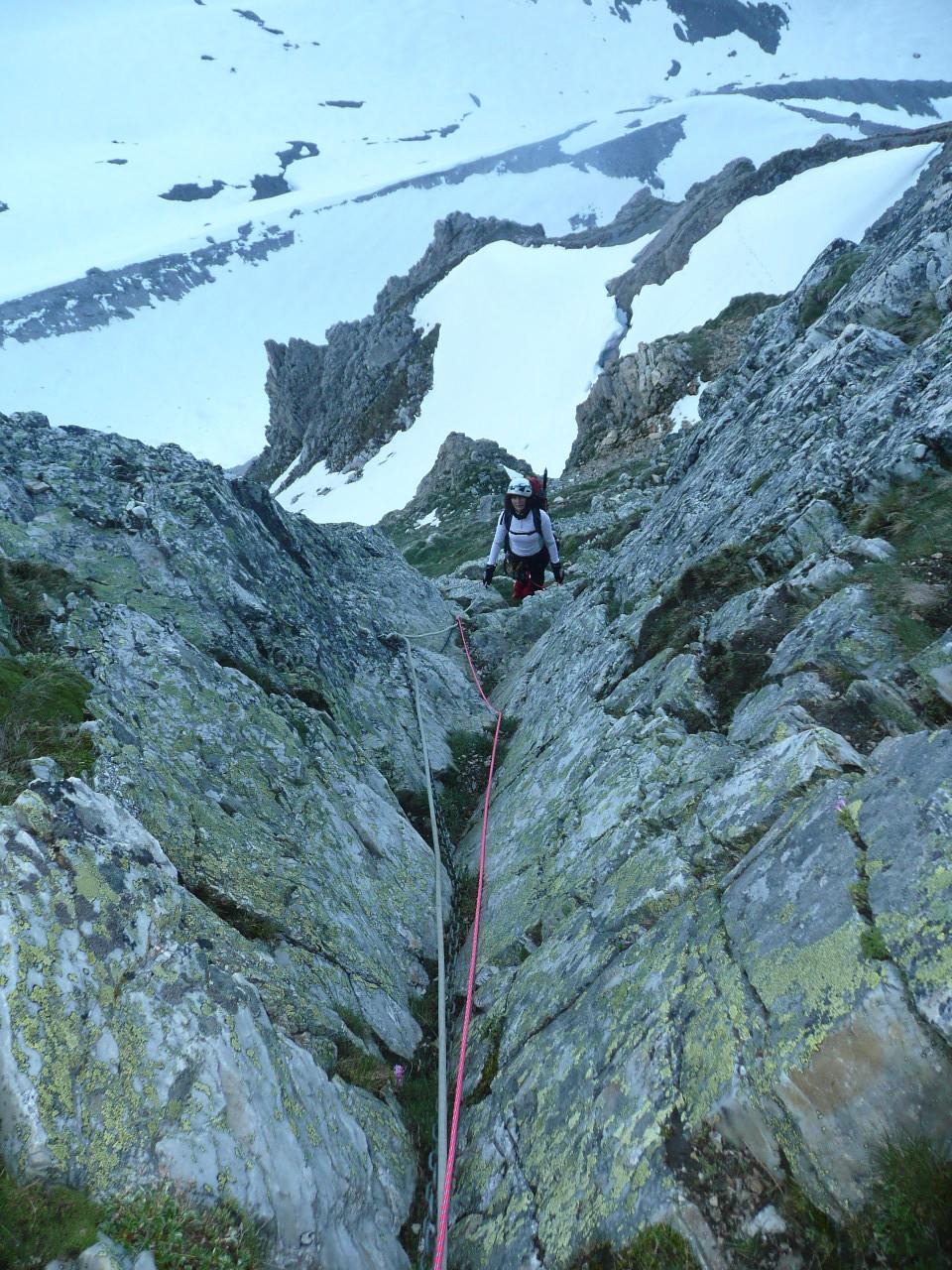 sur l'arête entre le col des schistes et le glacier de Glière