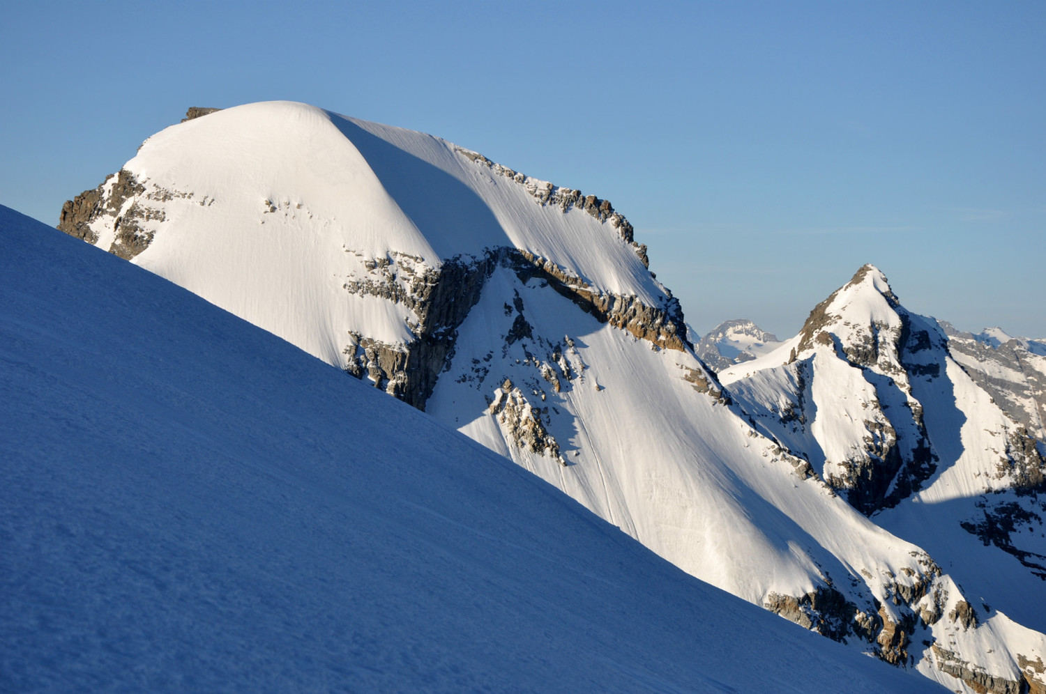 Ciarforon (3641m) and Becca de Monciar (3545m) : north faces. Climbers can be seen on both faces