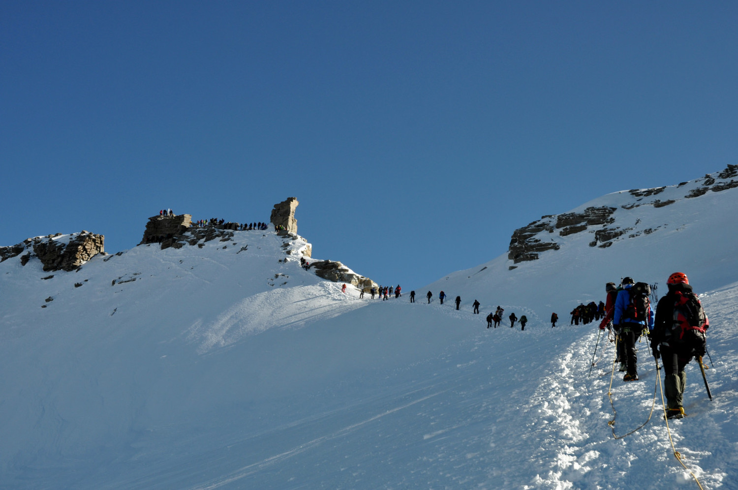 Gran Paradiso - Via normale : the last slope (busy!)