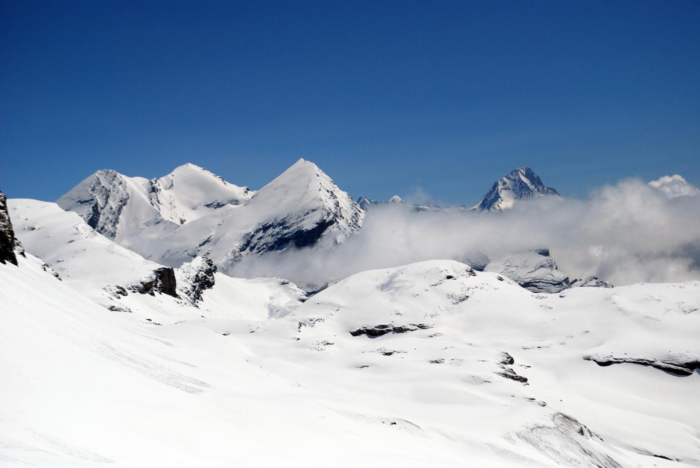 La tiade Altes 3629m,Balmhorn 3698m e Rinderhorn 3448m con a destra il Bietschhorn 3934m salendo al Wildstrubel