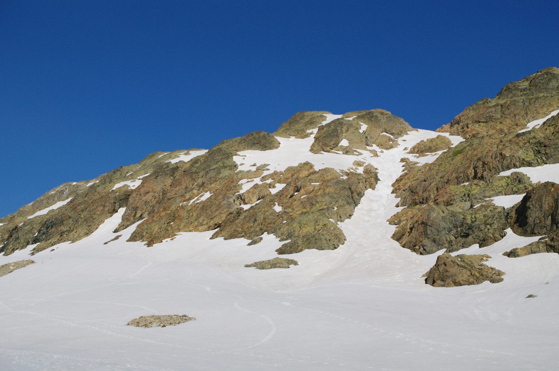 Couloir de sortie possible du glacier de Côte Blanc