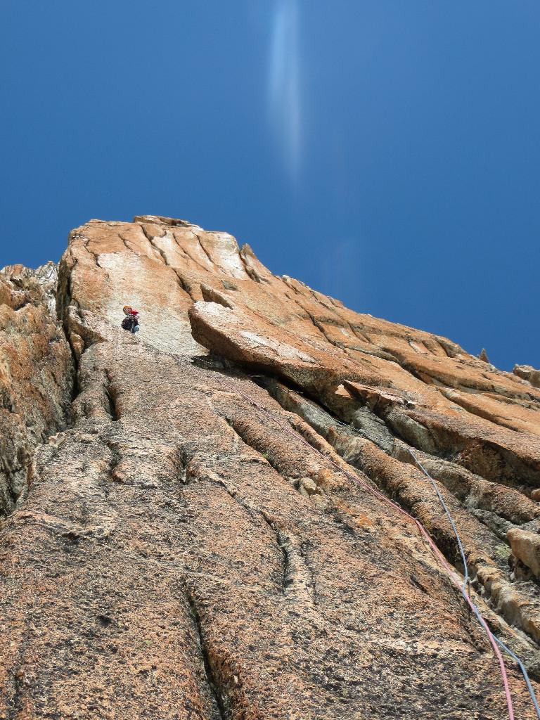 Marc au relais de la grosse écaille avant les difficultés - Versant Satanique au Minaret