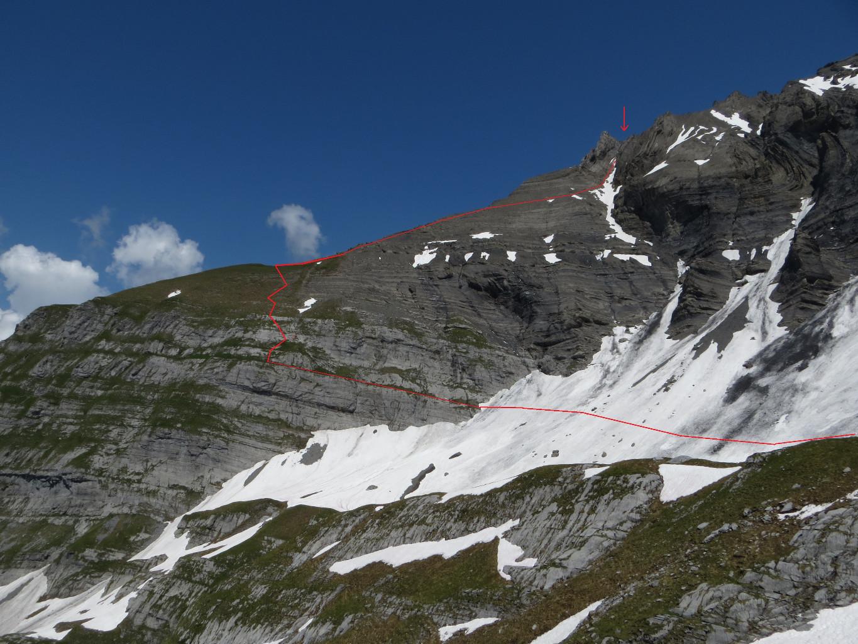 L'itineraire vers le Col des Chamois de la cabane de Plan Neve