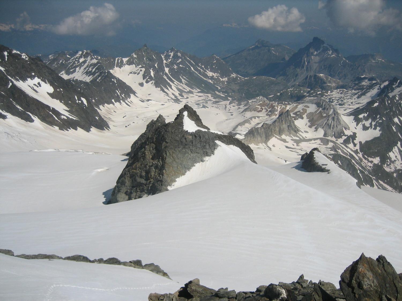 Vue sur le glacier de Gébroulaz depuis le Dôme de Polset