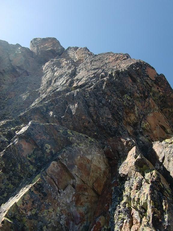 Sous le sommet après le passage en 6a de L13