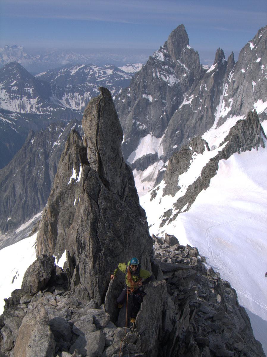 Easy initial part of the ascent. Aiguille Noire de Peuterey in the background.