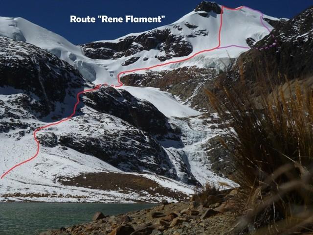 """Voie """"René Flament"""" nouvel itinéraire au Pic San Luis, Henry Bizot et Gabriel Fava, 1er juillet 2013"""
