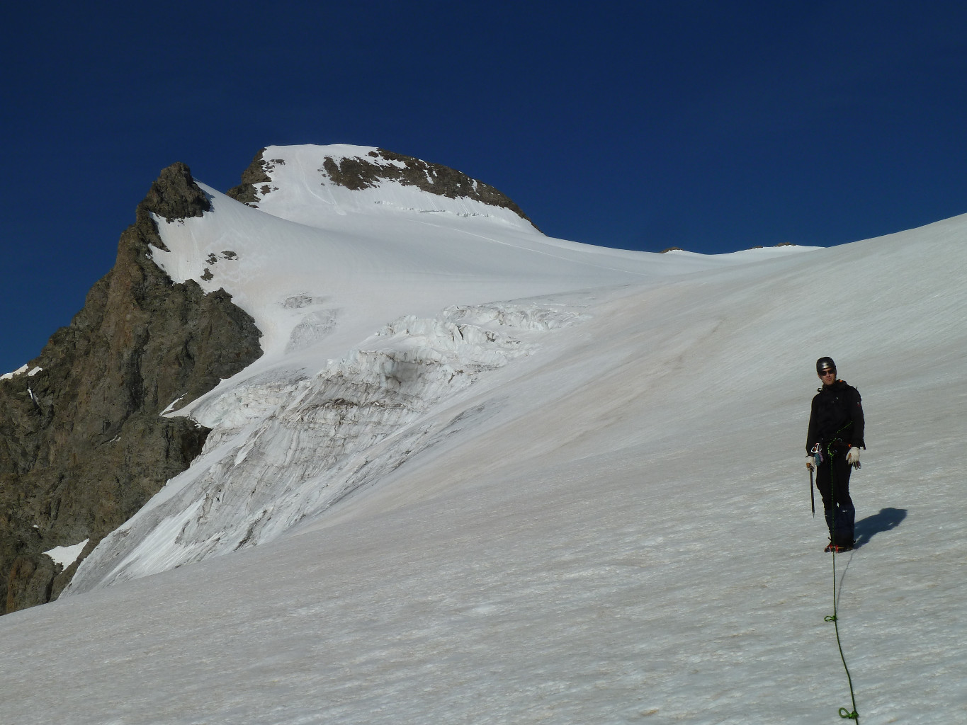 Looking at the glacier and the summit