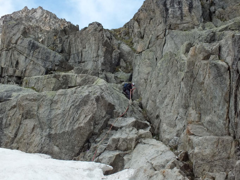 Col des Chasseurs, 2° rappel d'accès au glacier du Fréney