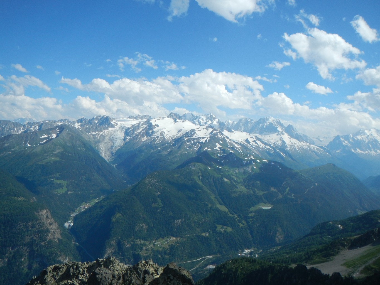 Vue sur le massif du Mont-Blanc : Trient, Tour, Chardonnet, Verte...